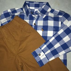 Button up shirt and pants set 3T